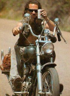beautiful vintage biker photo - full thick long dark beard beards bearded man men retro bikers motorcycle motorcycles #beardsonwheels #beardsforever