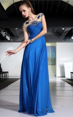 Blue A-line Floor-length Jewel Dress [Dresses 10149] - $208.00 :