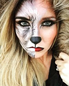 Halloween makeup. Little red riding hood meets big bad Wolf