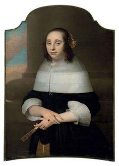 Portrait de jeune femme tenant un éventail par Isaac Luttichuys