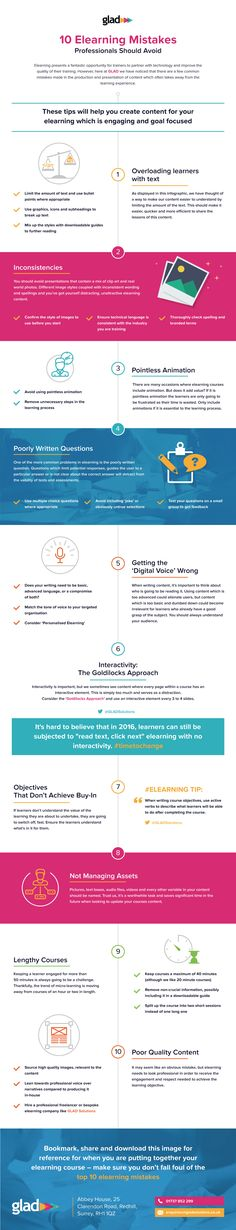 10 eLearning Mistakes Professionals Should Avoid Infographic - http://elearninginfographics.com/10-elearning-mistakes-professionals-should-avoid-infographic/