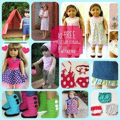10 free American Girl Doll Clothes Patterns for you to get sewing this summer fo… - American Girl Dolls American Girl Outfits, Ropa American Girl, American Girl Crafts, American Doll Clothes, American Clothing, Sewing Doll Clothes, Crochet Doll Clothes, Girl Doll Clothes, Barbie Clothes