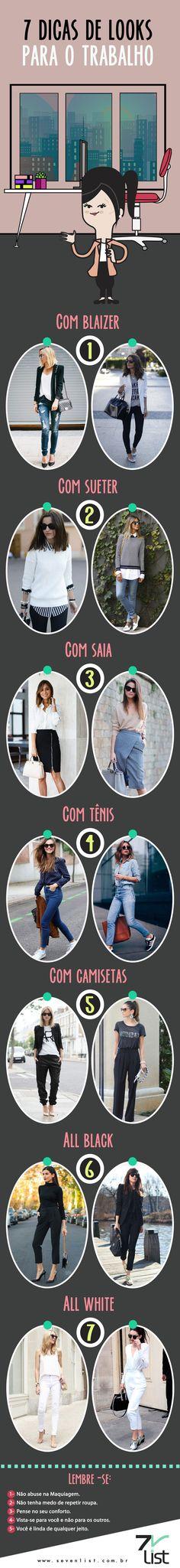 Segunda-feira é o dia perfeito para falarmos de trabalho, mais especificamente do guarda-roupa para a ocasião. Afinal, se sentir bonita é o primeiro passo para encarar a segundona. Confira 7 dicas de looks para usar no trabalho. #SevenList #Moda #Fashion #LooksParaotrabalho #Work #Outifit #Looks #Blazer #AllBlack #Allwhite #Skirt #Tenis #Camiseta