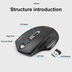 imice Wireless Mouse 2.4G USB Optical Mouse Original 3 Buttons 1600DPI Computer Mice Ergonomic Design For Laptop desktop P Value-5-Star
