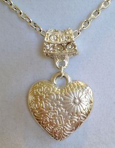 Bridal Heart and Crystal Necklace by joytoyou41 on Etsy, $28.00