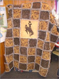 Bucking Horse Quilt Kit such a cute lil kid blanket Cowboy Crafts, Horse Crafts, Western Crafts, Flannel Quilts, Boy Quilts, Quilt Kits, Quilt Blocks, Quilting Projects, Sewing Projects