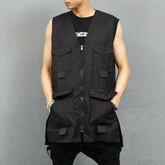 Multi Flap Pocket Zip Up Split Side Long Vest