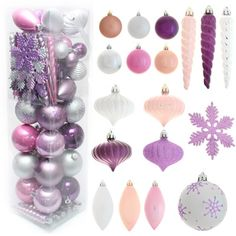 Christmas ornaments shades of violet and pink/silver