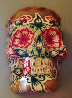 Flower and VinesPretty handmade Sugar Skull Wall by LeavesofRed, $65.00