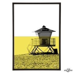 Art & Hue Minimal Beach Lifeguard Station Art Print: Minimal Beach Graphic Pop Art of Lifeguard Station Hut on sandy beach with Yellow flash. Designed by Art & Hue. Made in Britain, Art & Hue creates stylish pop art on various themes inspired by the 1960s, cult film & TV, and Mid-Century modernism.
