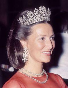 Queen Sonja wearing Queen Joséphine's Diamond Tiara, Norway (19th c.; diamonds, silver, gold).