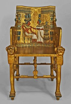 Egyptian Revival Polychrome Carved  Throne Chair, A replica of the original Tutankhamun gold throne  Late 19th c.