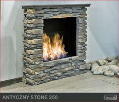 Klasyczny kominek portalowy - kominek na biopaliwo - biokominek do salonu. Obudowa kamienna - kamień dekoracyjny Calgary.  #mieszkanie #kominek #kominki #salon #biokominek #biokominki #dekoracje #wnetrza #dom #oswietlenie #kamien #biofireplace #interior