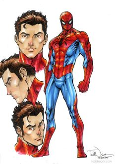"toddnauck: "" A character study I did of the All New-All Different Spidey design as I geared up for my Amazing Spider-Man & Silk series. "" *"