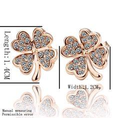 Aliexpress.com : 신뢰할수 있는 귀걸이 팔찌 공급업체Mengmei Ornaments Ltd.에서 도매 무료 배송 패션 보석 18 천개 골드 행운의 꽃 클로버 화이트 지르콘 농구 드롭 후크 스터드 귀걸이 GE001을 구매합니다.