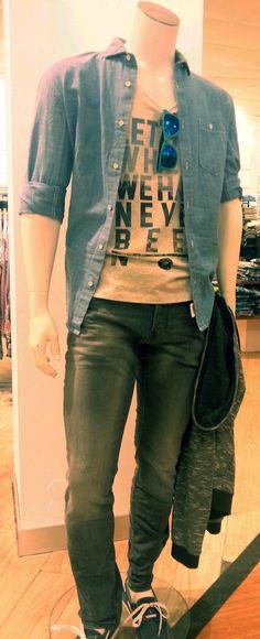 Outfit der Woche! Tank Top, Jeans, Hemd & Sweatjacke: Tom Tailor Denim #fashion www.mensing.com