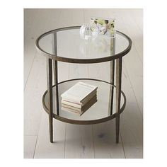 Mirror, glass, forged metal. Simply perfect Clairemont Accent table from Crate & Barrel. #livingroom