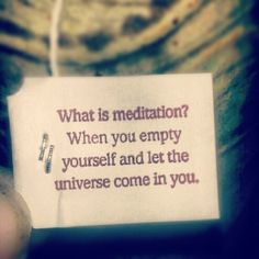 I would slightly edit it and say, What is meditation?  When you empty yourself and you realize you are the universe manifested in body.
