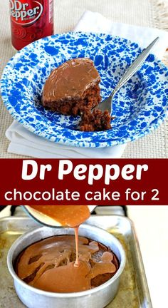 Dr Pepper Cake for Two. A small moist chocolate cake made with Dr Pepper and a w… Dr Pepper Cake for Two. A small moist chocolate cake made with Dr Pepper and a warm chocolate glaze! Single Serve Desserts, Single Serving Recipes, Small Desserts, Mini Desserts, Just Desserts, Delicious Desserts, Dessert Recipes, Party Desserts, Allrecipes Desserts