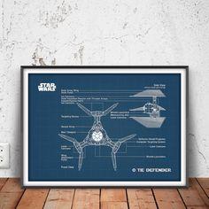 TIE DEFENDER poster star wars printable star wars by PrintPoint