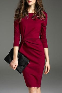 Bodycon Dress Outfit, Bodycon Dress With Sleeves, Dress Outfits, Dresses With Sleeves, Fashion Outfits, Sheath Dress, Long Sleeve Work Dress, Bodycon Dress Formal, Below The Knee Dresses