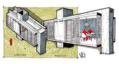 caja pequeña House Sketch Design, Drawing Sketches, Drawings, Sketch Art, Sketching, Perspective Sketch, Facade Architecture, Architecture Sketches, Building Sketch