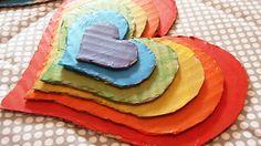 Valentine's day craft - Rainbow Stacked Hearts