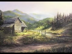 Rustic Cabin Oil Painting | Landscape Art - YouTube