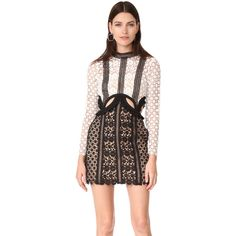 Self Portrait Payne Cutout Mini Dress ($545) ❤ liked on Polyvore featuring dresses, long sleeve cocktail dresses, short dresses, long sleeve dress, high neck lace dress and sheer mini dress