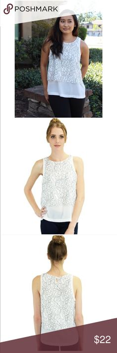 Relished Delia Top Sleeveless white tops with faint black design. 100% polyester. SM - Med - Lg Relished Tops Blouses
