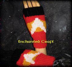 Knitted Star Trek Red Shirt Fingerless Gloves by EnchantedCraft, $40.00