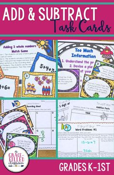 Time to have some fun in the sun with these engaging addition and subtraction word problem task cards! It's a great way to keep your scholar's minds focused even if they have summer on the brain! This is aligned with first grade standards. I've also used it with my second graders as review! This unit has 3 activities for your class: Addition and Subtraction Word Problems, Too Much Information Word Problems, Three Digit Addition|Basic Operations|Word Problems|Summer|