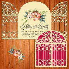 Invitación de la boda tarjeta plantilla, figuras, puertas (ai, eps, svg) lasercut descarga inmediata de thehousedesigns en Etsy