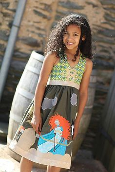 QBD presents the Brave Merida applique scene and knit dress size 18m to tween 8. $190.00, via Etsy.