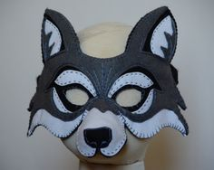 Whos afraid of the Big Bad Wolf? A felt mask with hand embroidered details makes a handsomely dashing wolf. This Printable PDF pattern is fully Wolf Maske, Rooster Mask, Felt Crafts, Diy And Crafts, Wolf Costume, Dog Mask, Felt Mask, Big Bad Wolf, Animal Masks