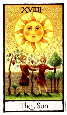 "The Sun Tarot.The Sun card illuminates joy, good fortune, and celebration in a tarot reading. the Sun ""lights up"" in a reading."