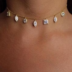 Tiny Sterling Silver Chain Necklace Dainty Choker with 7 tiny Pendants with brilliant cubic zirconia charm accents on this silver chain Chokers design Adjustab