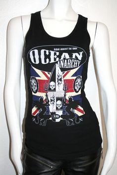 #Ocean Anarchy By ICJUK Ladies Black Ribbed Tank #surf #fun