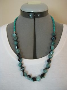"SOLD! Item S7041 One of my favorites! 24"" Agate and turquoise with silver ring clasp. $40."
