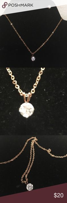 Cubic Zirconia Necklace/Earrings This beautiful set is paired with rose gold beautiful dainty piece Jewelry Necklaces