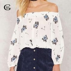 >> Click to Buy << Lace Girl Slash Neck Floral Print Chiffon Blouse 2017 Women Off Shoulder Long Sleeve Shirt Spring Autumn Strapless Women Tops #Affiliate