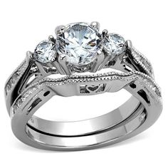 Stole My Heart - Stainless Steel CZ Stone Trio Heart Detail Stackable Ring