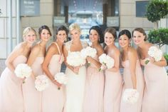 Blush bridesmaid dresses, so pretty. Light Pink & Gray Wedding
