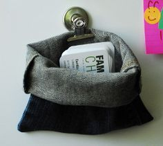 Clean Jean Pick-Up Pouch The Office Pocket : family chic Jean Crafts, Denim Crafts, Jeans Denim, Old Jeans, Denim Bag, Kids Room Organization, Recycled Crafts, Recycled Denim, Learn To Sew