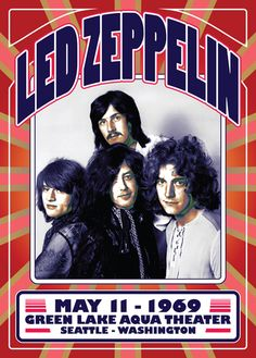 LED ZEPPELIN Seattle USA 1969 Reissue Gig Poster