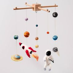 needle felt space cot mobile by fox's felts | notonthehighstreet.com