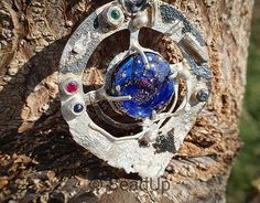 Glass beads by Bead Up - organic silver pendant with glass cab, sapphire and ruby stones