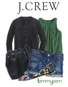 """""""J.Crew"""" by timmypom ❤ liked on Polyvore featuring J.Crew, shorts, jcrew, cardigan, SpringStyle and springfashion"""