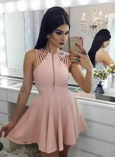 Short Prom Dress, Prom Dress Pink, Homecoming Dresses A-Line, 2018 Homecoming Dresses Prom Dresses 2019 Pink Prom Dresses, A Line Prom Dresses, Cheap Prom Dresses, Homecoming Dresses, Sexy Dresses, Cute Dresses, Evening Dresses, Fashion Dresses, Formal Dresses
