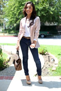 I love her pink blazer! :)